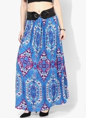 Akkriti by Pantaloons Printed Women's Gathered Blue Skirt at flipkart