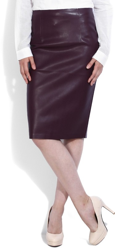 Forever New Solid Women's Pencil Maroon Skirt