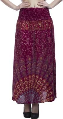 Indi Bargain Printed Women's A-line Maroon Skirt