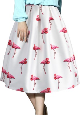 Suitevilla Printed Women's Regular White Skirt