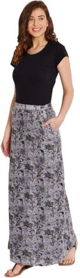 The Vanca Printed Women's A-line Grey Skirt