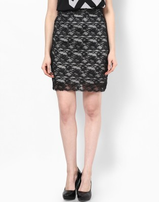 Athena Self Design Women's Regular Black Skirt at flipkart