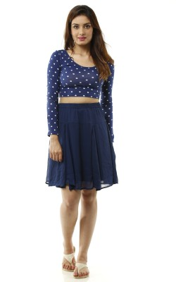 Lyla Solid Women's A-line Blue Skirt