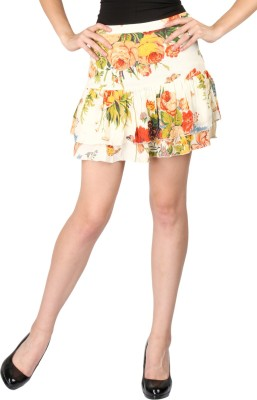 Aaliya Floral Print Women's Tiered Multicolor Skirt