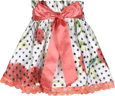 Cutecumber Polka Print Girl's A-line Orange Skirt