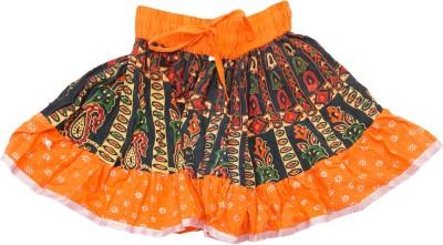 Sunshine Printed Baby Girl's A-line Orange Skirt