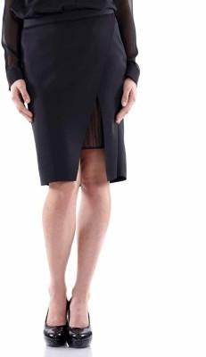 Fuziv Solid Women's Pencil Black Skirt