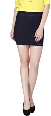 Cottinfab Solid Women's Pencil Blue Skirt