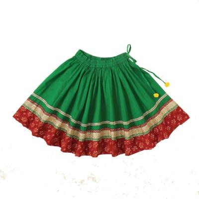 Little Pocket Store Embellished Girl's Gathered Green Skirt