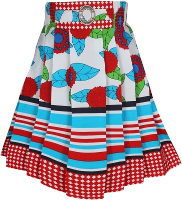 Jazzup Printed Girl's Gathered Red, Blue Skirt