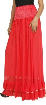 Sringar Solid Women's Regular Red Skirt