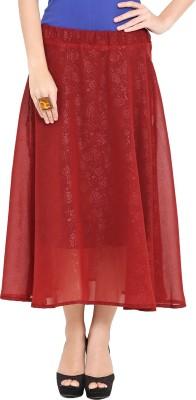 Trend Arrest Solid Women,s Regular Maroon Skirt