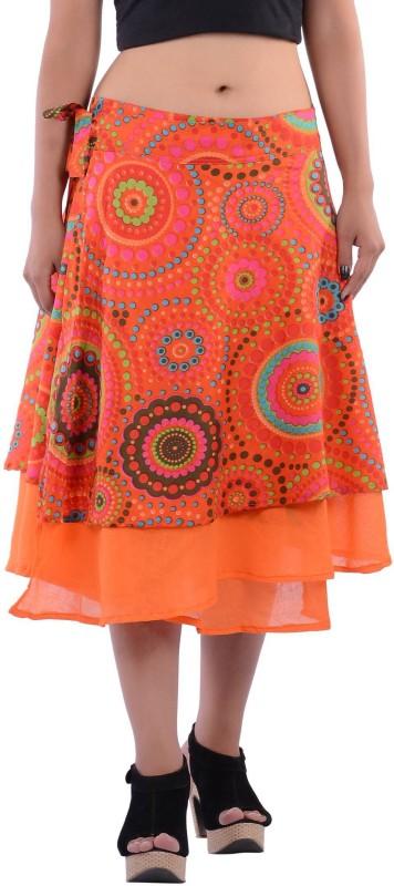 Indi Bargain Geometric Print Women's A-line Orange Skirt
