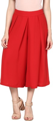 Harpa Solid Women's Pleated Red Skirt