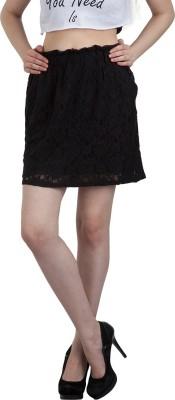 FASHIONHOLIC Self Design Women's Straight Black Skirt