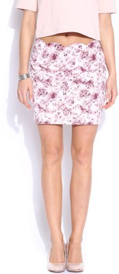 Mast & Harbour Printed Women's Pencil White Skirt at flipkart