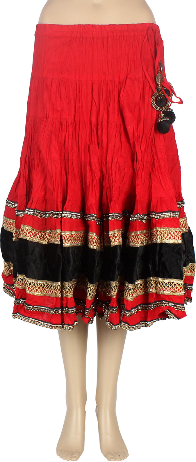 Mina Bazaar Printed Womens A-line Red Skirt