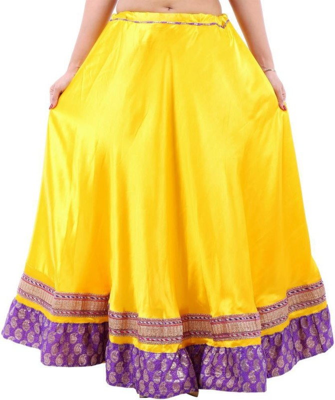 Prateek Exports Printed Women's A-line Yellow Skirt