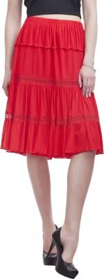 Peptrends Self Design Women's Gathered Red Skirt