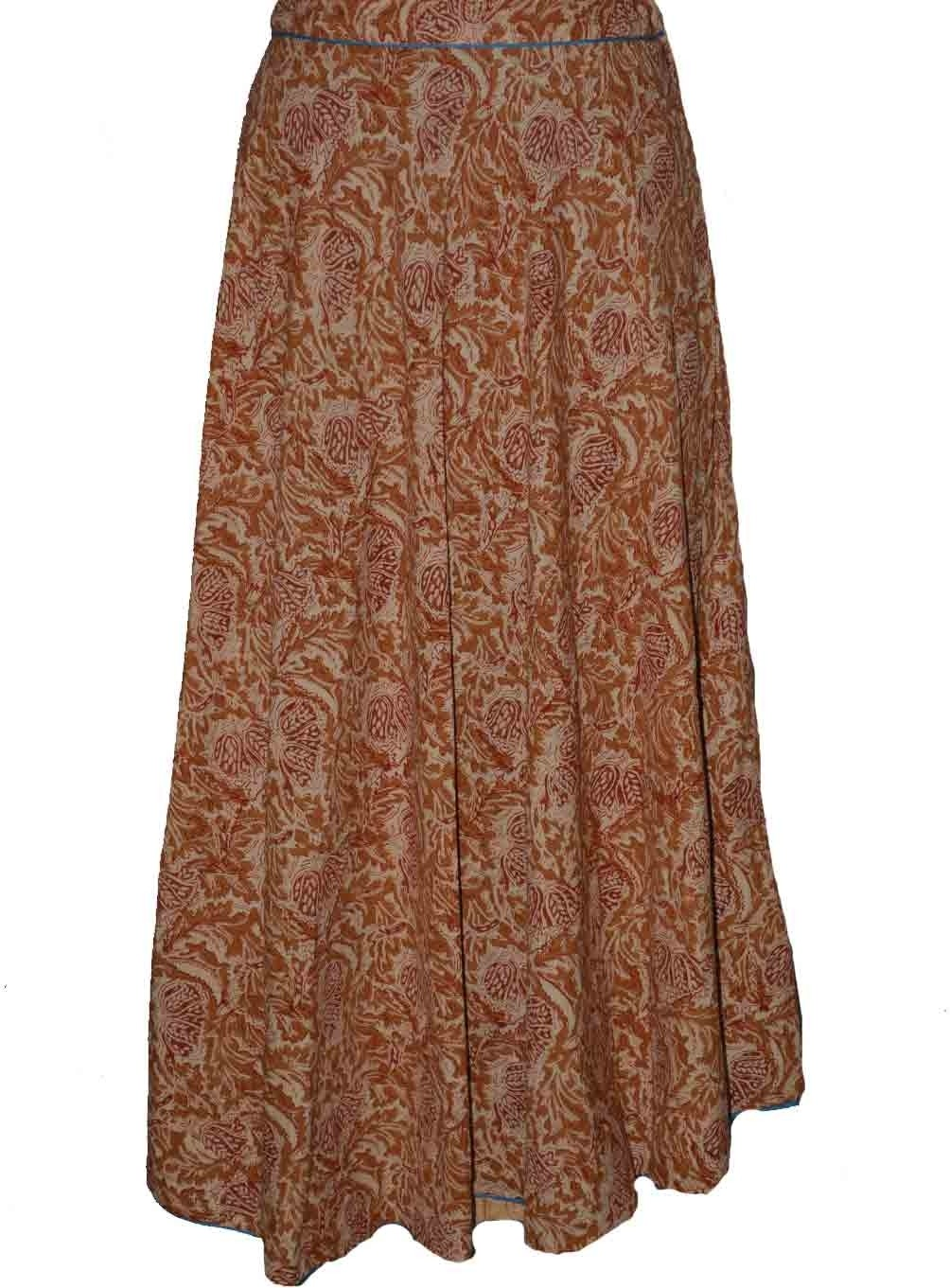 Alicolours Printed Womens Broomstick Brown Skirt
