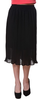 Purys Solid Women's Pleated Black Skirt
