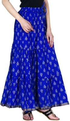 Ooltah Chashma Embellished Women's Tiered Dark Blue Skirt