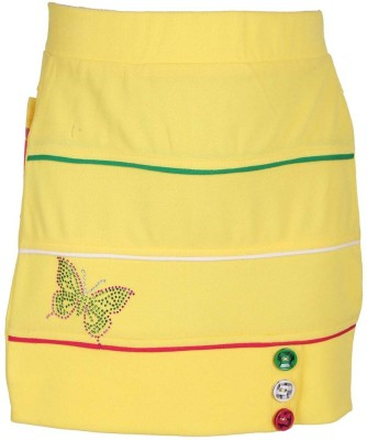 LEI CHIE Self Design Girl's A-line Yellow Skirt