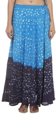 Ooltha Chashma Striped Women's Broomstick Blue Skirt