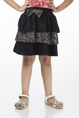 Zeupic Houndstooth Girl's Gathered Black Skirt