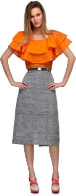 Yolo Designs Woven Women's Pencil Grey, Black Skirt
