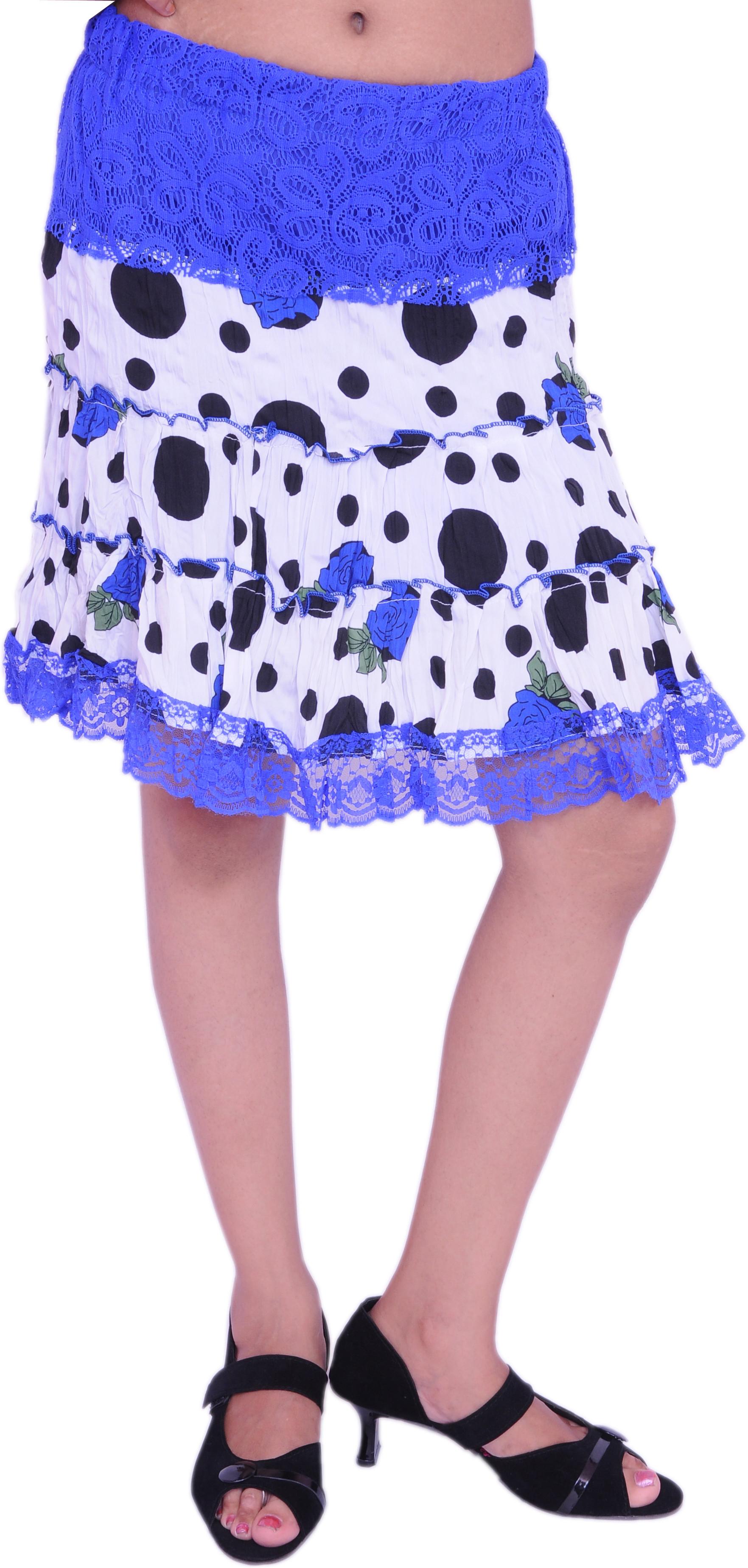 Jevaraz Printed Womens Regular White, Blue Skirt