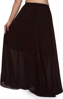 Pops N Pearls Solid Women's Regular Brown Skirt
