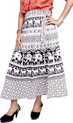 Krishna Mart Animal Print Women's Regular White Skirt