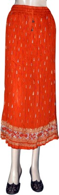 Shilimukh Floral Print Women's A-line Orange Skirt