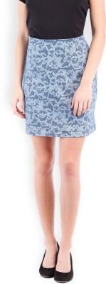 Tokyo Talkies Printed Women's Pencil Dark Blue Skirt