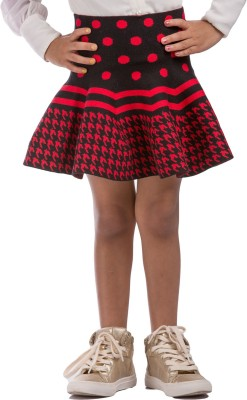 Classy Kids Houndstooth Girl,s A-line Red, Black Skirt