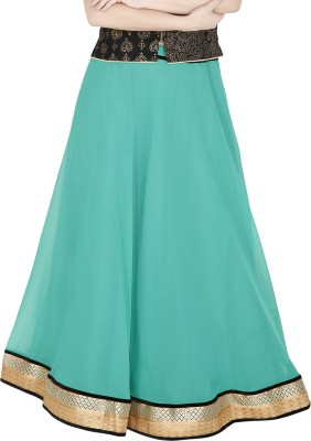 Sanchi Global Solid, Embellished Women's Regular Green Skirt