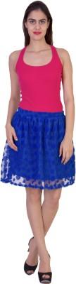 Curvyy Self Design Girl's Regular Blue Skirt