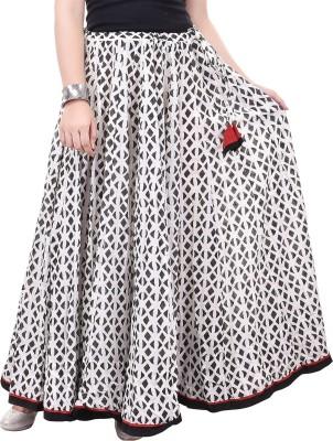 chidiyadesigns Printed Women's Gathered Black, White Skirt