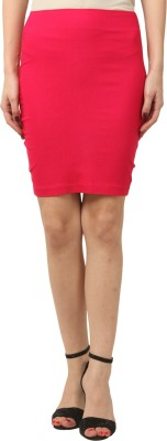 FashionExpo Solid Women's Straight Pink Skirt