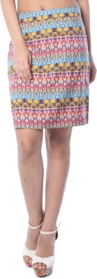 Florriefusion Geometric Print Women,s Pencil Multicolor Skirt