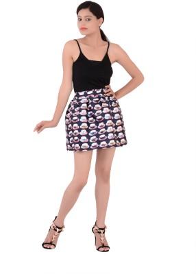 Fashnopolism Printed Women's Bubble Black Skirt