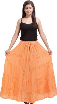 Sunshine Solid Women's A-line Orange Skirt