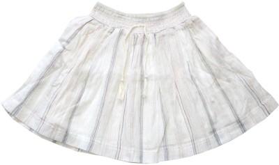 Young Birds Striped Girl's Regular White Skirt