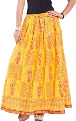 Decot Paradise Self Design Women's Regular Yellow Skirt