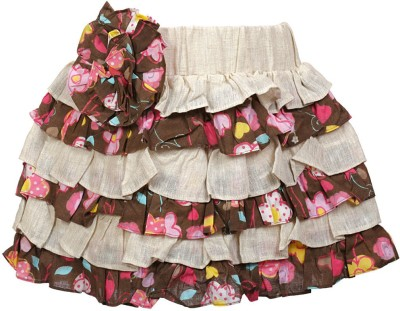 Lil Poppets Floral Print Girl's Layered Beige Skirt