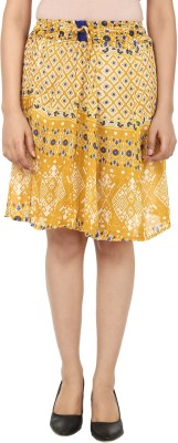 TeeMoods Printed Women's A-line Yellow, White Skirt