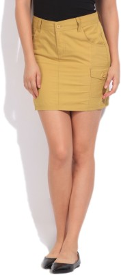 Mossimo Solid Women's Straight Beige Skirt