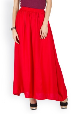 Westhreads Solid Women's Straight Red Skirt