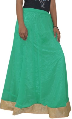 Shreeka Solid Women's Regular Green, Gold Skirt